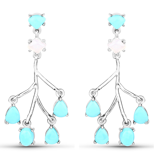 Earrings-3.55 Carat Genuine Turquoise and White Agate .925 Sterling Silver Earrings