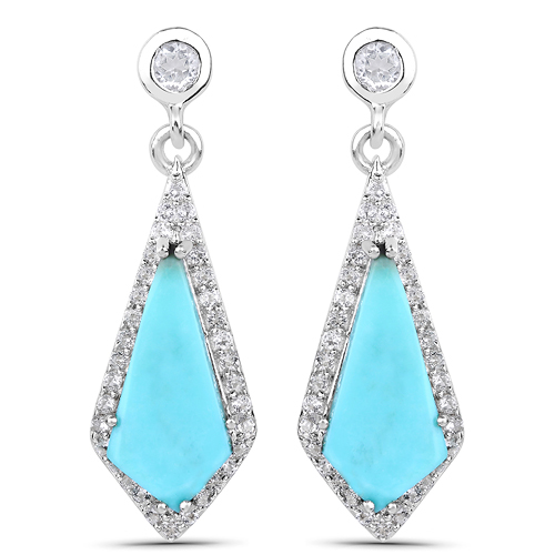 Earrings-3.15 Carat Genuine Turquoise and White Topaz .925 Sterling Silver Earrings