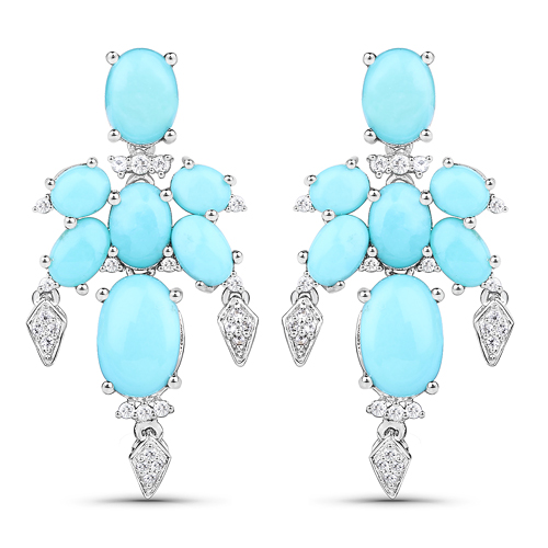 Earrings-9.67 Carat Genuine Turquoise and White Topaz .925 Sterling Silver Earrings