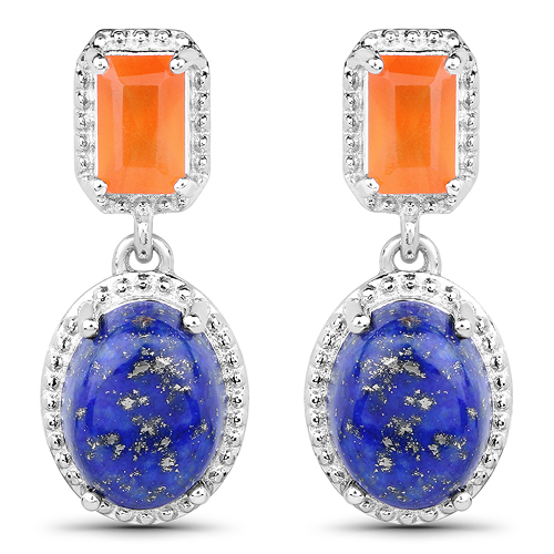 Earrings-5.22 Carat Genuine Carnelian and Lapis .925 Sterling Silver Earrings
