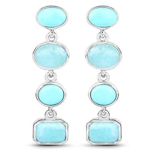 Earrings-3.91 Carat Genuine Turquoise and Amazonite .925 Sterling Silver Earrings