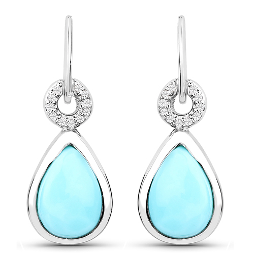 Earrings-3.07 Carat Genuine Turquoise and White Topaz .925 Sterling Silver Earrings