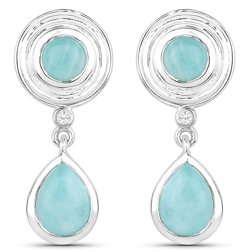 Earrings-3.13 Carat Genuine Amazonite and White Topaz .925 Sterling Silver Earrings