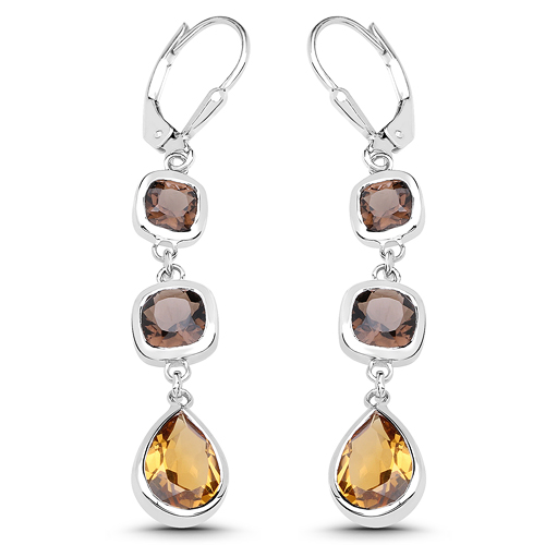 Earrings-5.65 Carat Genuine Smoky Quartz and Champagne Quartz .925 Sterling Silver Earrings