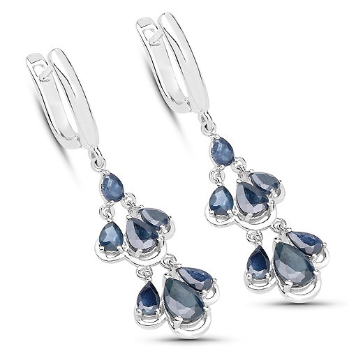 Earrings-4.18 Carat Genuine Blue Sapphire .925 Sterling Silver Earrings