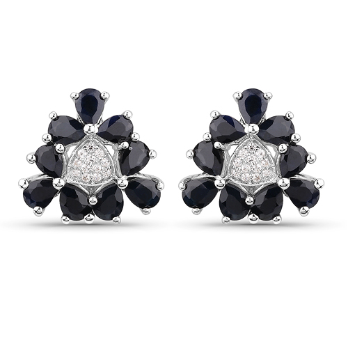Earrings-3.18 Carat Genuine Blue Sapphire and White Zircon .925 Sterling Silver Earrings
