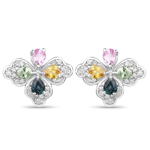 Earrings-1.67 Carat Genuine Multi Sapphire and White Zircon .925 Sterling Silver Earrings