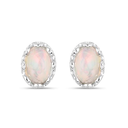 0.54 Carat Genuine Ethiopian Opal .925 Sterling Silver Earrings