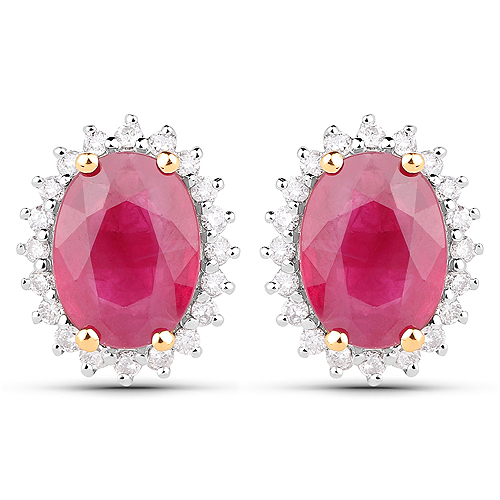Earrings-2.85 Carat Genuine Ruby and White Diamond 14K Yellow Gold Earrings
