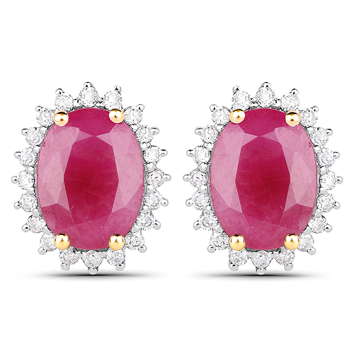 Earrings-14K Yellow Gold 2.85 Carat Genuine Ruby and White Diamond Earrings