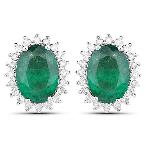2.65 Carat Genuine Zambian Emerald and White Diamond 14K White Gold Earrings
