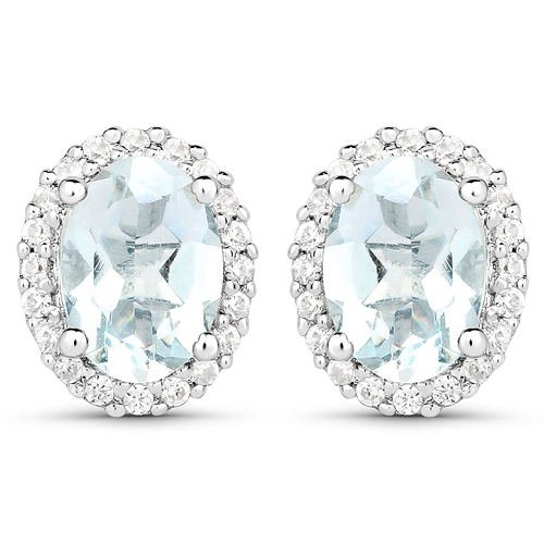Earrings-1.50 Carat Genuine Aquamarine and White Zircon .925 Sterling Silver Earrings