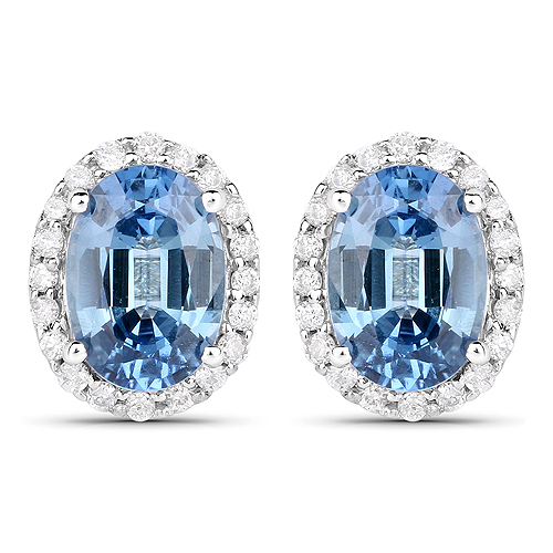 Earrings-2.16 Carat Genuine Blue Sapphire and White Diamond 14K White Gold Earrings