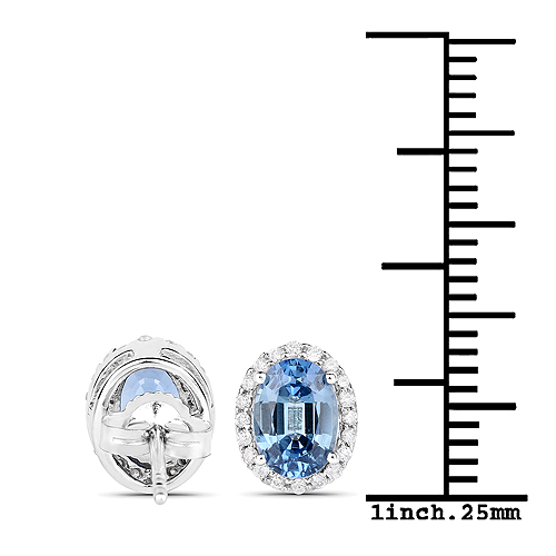 2.16 Carat Genuine Blue Sapphire and White Diamond 14K White Gold Earrings