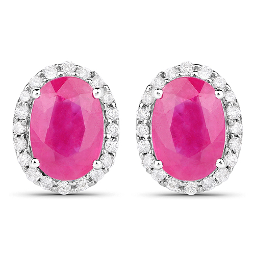 Earrings-2.06 Carat Genuine Ruby and White Diamond 14K White Gold Earrings