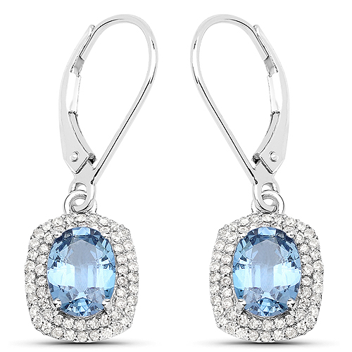 2.36 Carat Genuine Blue Sapphire and White Diamond 14K White Gold Earrings