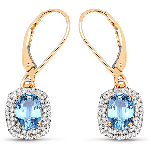Earrings-2.36 Carat Genuine Blue Sapphire and White Diamond 14K Yellow Gold Earrings