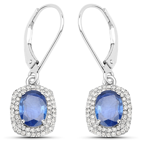 Earrings-2.36 Carat Genuine Blue Sapphire and White Diamond 14K White Gold Earrings
