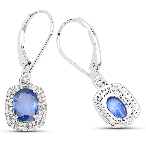 2.36 Carat Genuine Blue Sapphire and White Diamond 14K White Gold Earrings