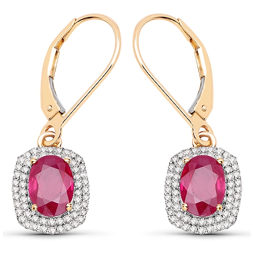 Earrings-2.26 Carat Genuine Ruby and White Diamond 14K Yellow Gold Earrings