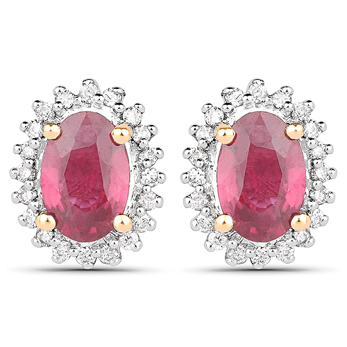 Earrings-1.22 Carat Genuine Ruby and White Diamond 14K Yellow Gold Earrings