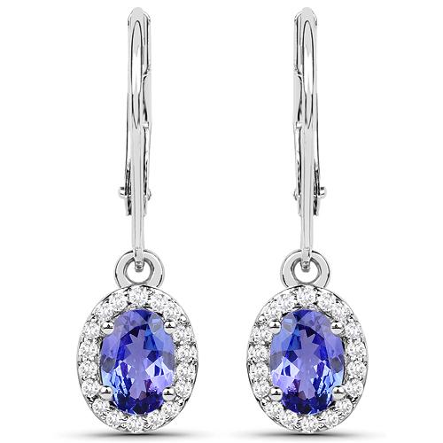 1.42 Carat Genuine Tanzanite and White Diamond 14K White Gold Earrings