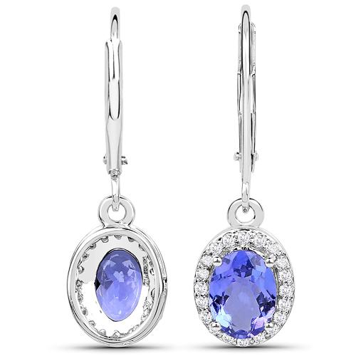2.25 Carat Genuine Tanzanite and White Diamond 14K White Gold Earrings
