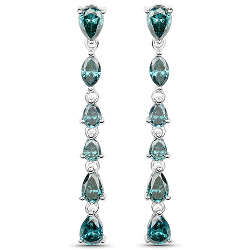 Earrings-4.81 Carat Genuine Blue Diamond 14K White Gold Earrings