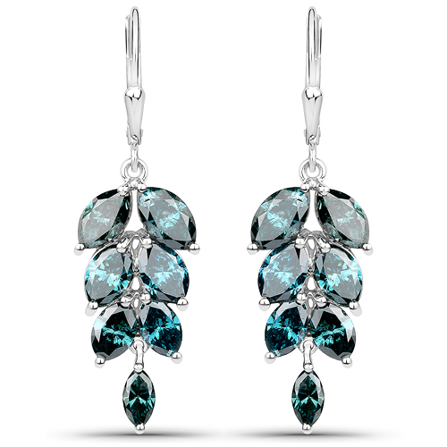Earrings-7.13 Carat Genuine Blue Diamond 14K White Gold Earrings