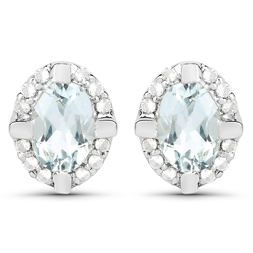 Earrings-0.94 Carat Genuine Aquamarine and White Zircon .925 Sterling Silver Earrings