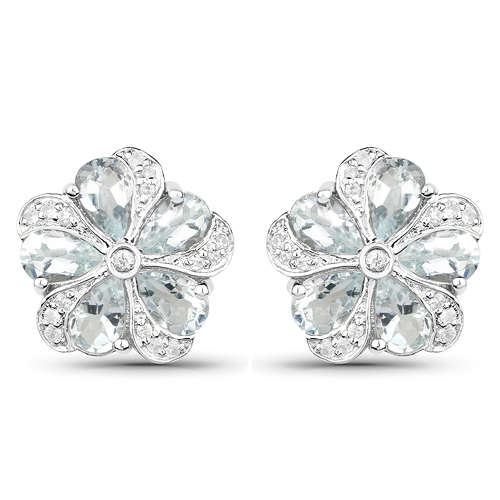 Earrings-3.81 Carat Genuine Aquamarine and White Zircon .925 Sterling Silver Earrings