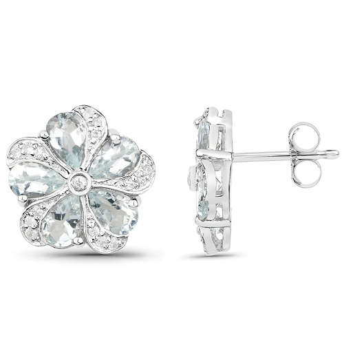 3.81 Carat Genuine Aquamarine and White Zircon .925 Sterling Silver Earrings