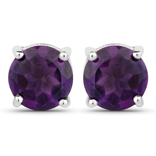 Amethyst-1.46 Carat Genuine Amethyst .925 Sterling Silver Earrings