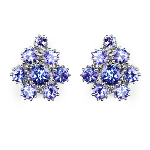Earrings-4.26 Carat Genuine Tanzanite .925 Sterling Silver Earrings