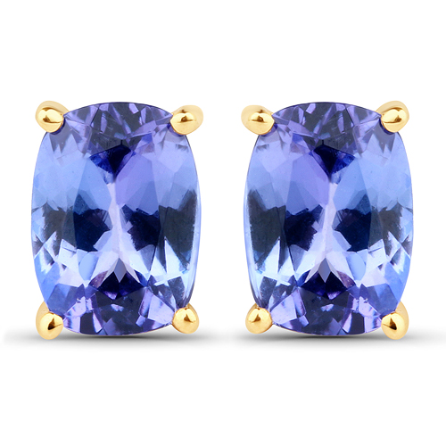 Earrings-2.26 Carat Genuine Tanzanite 14K Yellow Gold Earrings