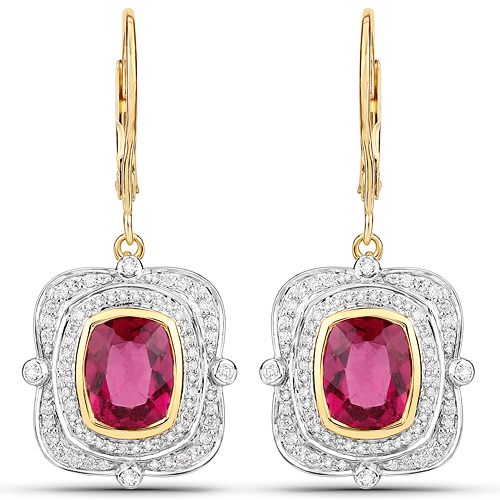 Earrings-4.41 Carat Genuine Rubellite and White Diamond 14K Yellow Gold Earrings