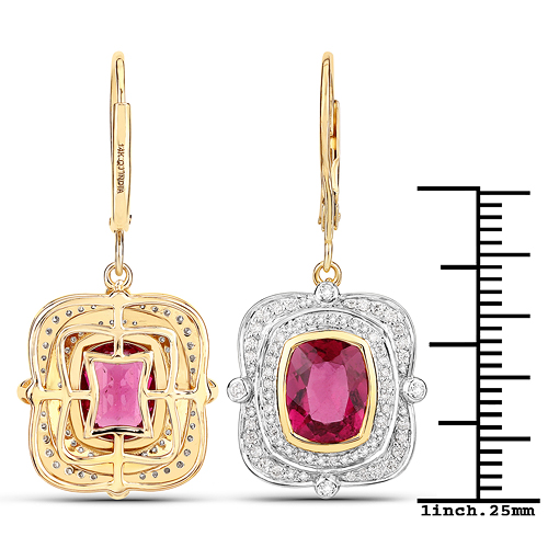 4.41 Carat Genuine Rubellite and White Diamond 14K Yellow Gold Earrings