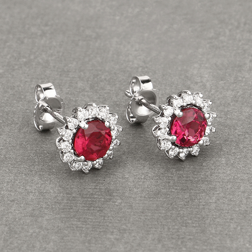 1.24 Carat Genuine Rubellite and White Diamond 14K White Gold Earrings