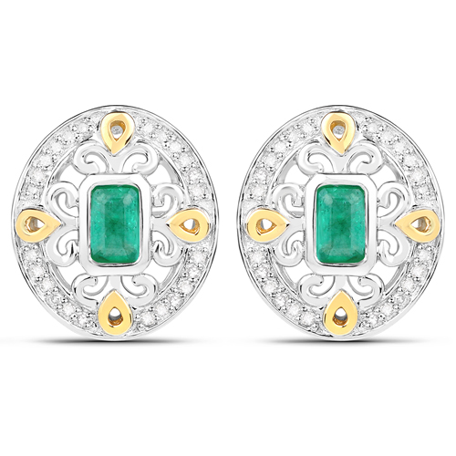 Emerald-0.69 Carat Genuine Zambian Emerald and White Diamond 14K Yellow Gold with .925 Sterling Silver Earrings