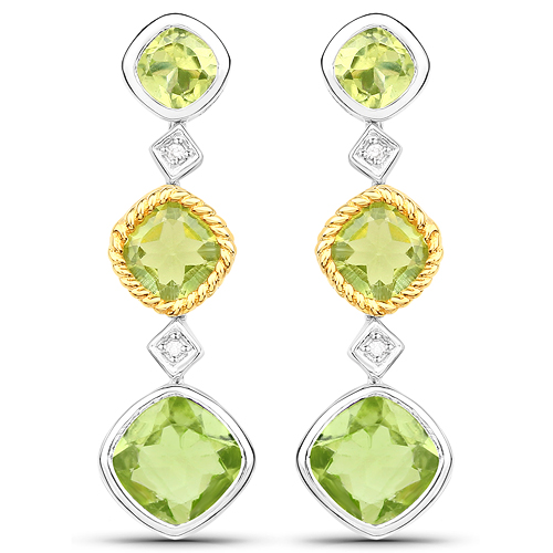 Peridot-3.79 Carat Genuine Peridot and White Diamond 14K Yellow Gold with .925 Sterling Silver Earrings