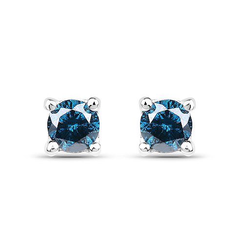 Earrings-0.28 Carat Genuine Blue Diamond .925 Sterling Silver Earrings