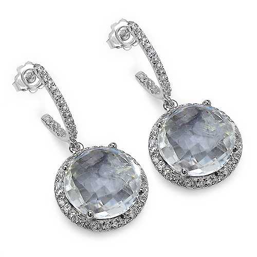 Earrings-20.52 Carat Genuine Crystal Quartz & White Topaz .925 Sterling Silver Earrings