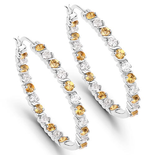 Citrine-3.16 Carat Genuine Citrine and White Topaz .925 Sterling Silver Earrings