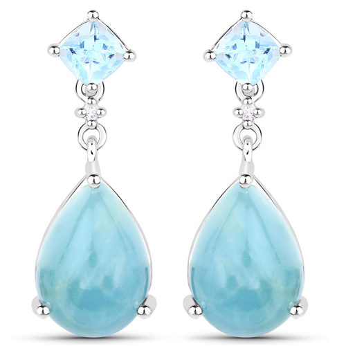 Earrings-14.63 Carat Genuine Aquamarine and White Diamond .925 Sterling Silver Earrings