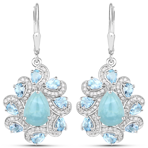 Earrings-7.48 Carat Genuine Aquamarine and White Diamond .925 Sterling Silver Earrings