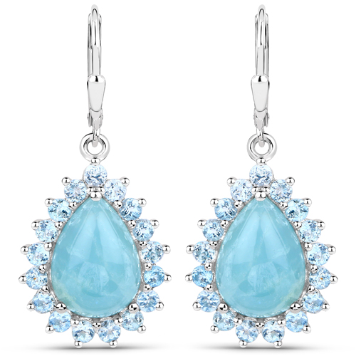 Earrings-15.64 Carat Genuine Aquamarine .925 Sterling Silver Earrings
