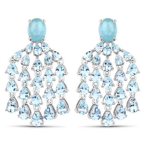 Earrings-14.56 Carat Genuine Aquamarine .925 Sterling Silver Earrings