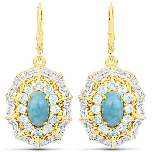 Earrings-5.97 Carat Genuine Aquamarine and White Diamond .925 Sterling Silver Earrings