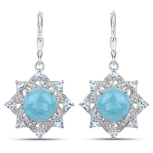 Earrings-9.03 Carat Genuine Aquamarine and White Diamond .925 Sterling Silver Earrings