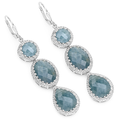 Earrings-21.32 Carat Genuine Milky Aquamarine .925 Sterling Silver Earrings